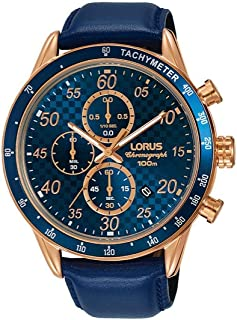 RM338EX9 - Lorus Sports, Quartz, 100m Water Resistant, Chronograph, Tachymeter, Leather Strap, Golden and Blue