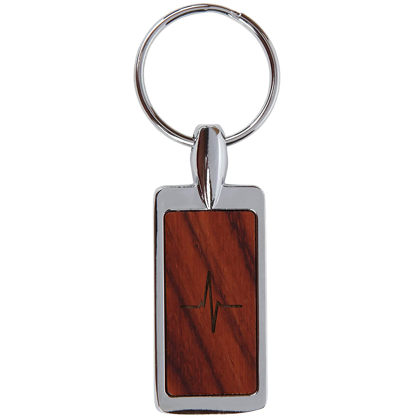 EKG Heartbeat Rosewood Keychain with Laser Engraved Design - Wood Keychain for Men and Women - Engraved Keyring Gift