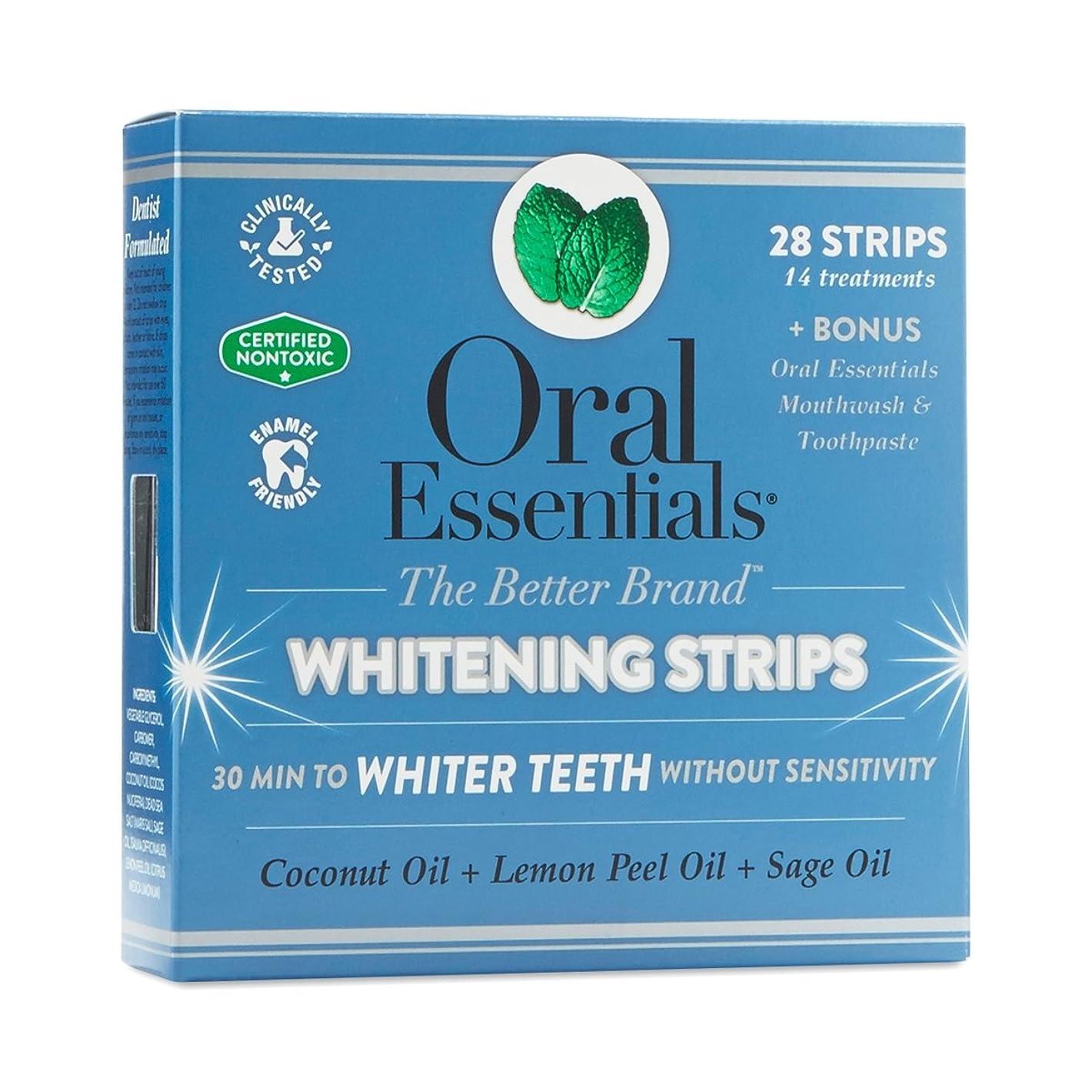 独裁者物理的な異なるホワイトニングストリップ オーラルエッセンシャル 14回分(上下24枚) 過酸化物なし、非毒性、敏感な歯茎に方にもやさしい 海外直送品