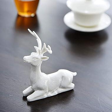 Ceramic Cute Deer Statue Decoration Creative Accessories Car Deer Ornament Living Room Bedroom Office TV Stand Decor Deer Scu