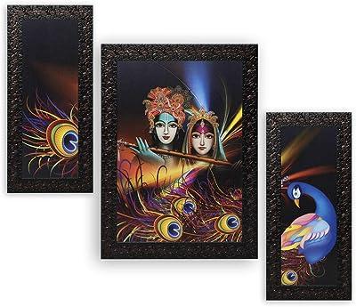 Indianara Set of 3 Radha Krishna Paintings (3002) without glass 6 X 13, 10.2 X 13, 6 X 13 INCH