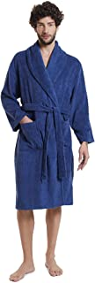 SIORO Men Towelling Terry Cotton Robe Shawl Collar Dressing Gown Soft Warm Hotel Spa Bathrobe Calf Length Housecoat