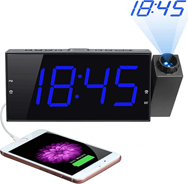 Projection Alarm Clock 7 Large Digital LED Display Dimmer USB Charger Adjustable Ringer 12 24 H DST Battery Backup Dual Alarm Clock For Bedrooms Ceiling Wall Home Kitchen Desk Kids Elders