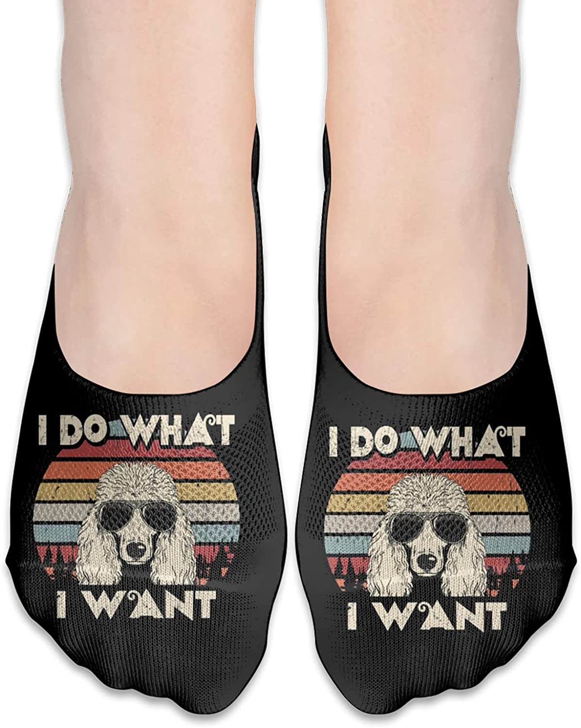 I Do What I Want Funny Standard Poodle Unisex Adult Light Casual Liner Socks Non Slip No Show Ankle Socks Low Cut Invisible Socks