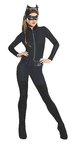 Womens Catwoman Costume Halloween Batman Superhero Fancy Dress Outfit 12-14