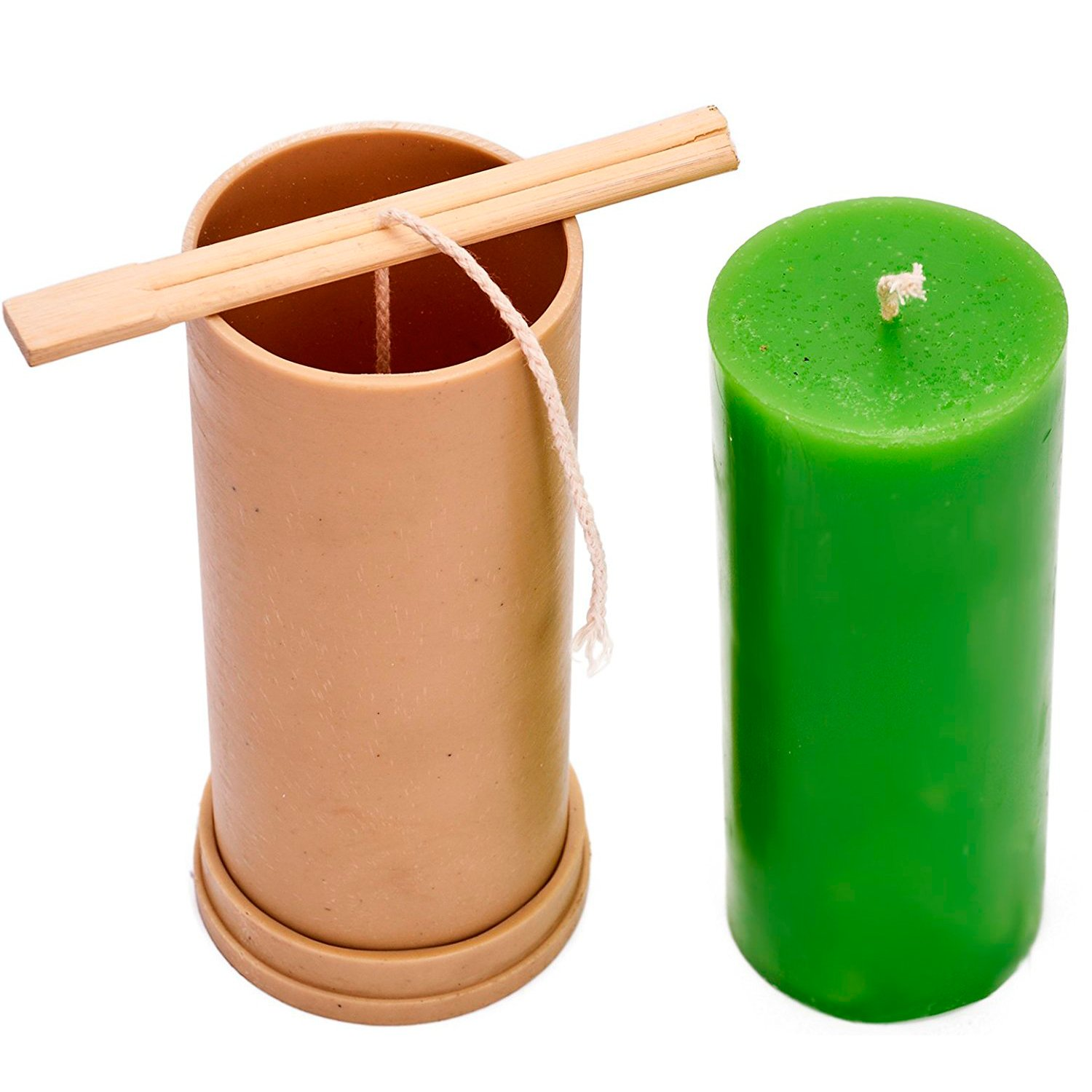 Candle Shop - Сylinder mold - height: 5.9 in, width: 2.3 in - 30 ft. of wick included as a gift - Plastic candle molds for making candles