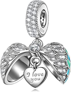 NINAQUEEN Mothers Day Gifts for Mom 925 Sterling Silver Heart Dangle Charms Beads with AAAAA Cubic Zirconias Fit for Bracelet and Necklace