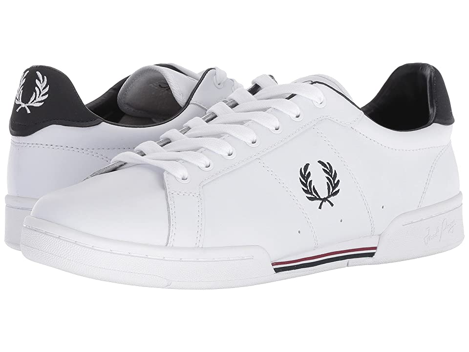 Fred Perry B7222 Leather (White/Navy/Port) Men's Shoes