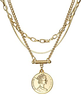 Coin Necklace 3PCS Gold Plated Snake Chain Choker Queen Elizabeth Round Pendant Christmas Gold Layered Necklace Jewelry for Women Her