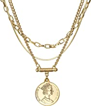 Coin Necklace 3PCS Gold Plated Snake Chain Choker Queen Elizabeth Round Pendant Christmas Valentine's Day Gifts Gold Layered Necklace Jewelry for Women Her
