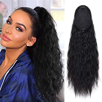 22 Inch Long Water Wave Ponytail Synthetic Fiber Corn Wave Ponytails Hair Piece Drawstring Curly Wavy Pony Tail Clip in Hair Extensions for Women (#1B)