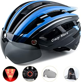 Crazy Mars Bike Bicycle Helmet - Cycling MTB BMX Helmet with Light and Magnatic Goggle Visor Men Women Adjustable