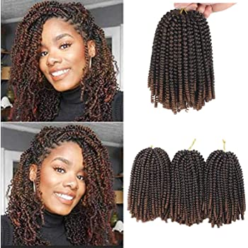 Xtrend 90strands 8 Inch Spring Twist Hair for Distressed Butterfly Locs Ombre Colors Passion Twist Fluffy Twist Hair Ombre Crochet Braids Synthetic Braiding Hair Extensions T30