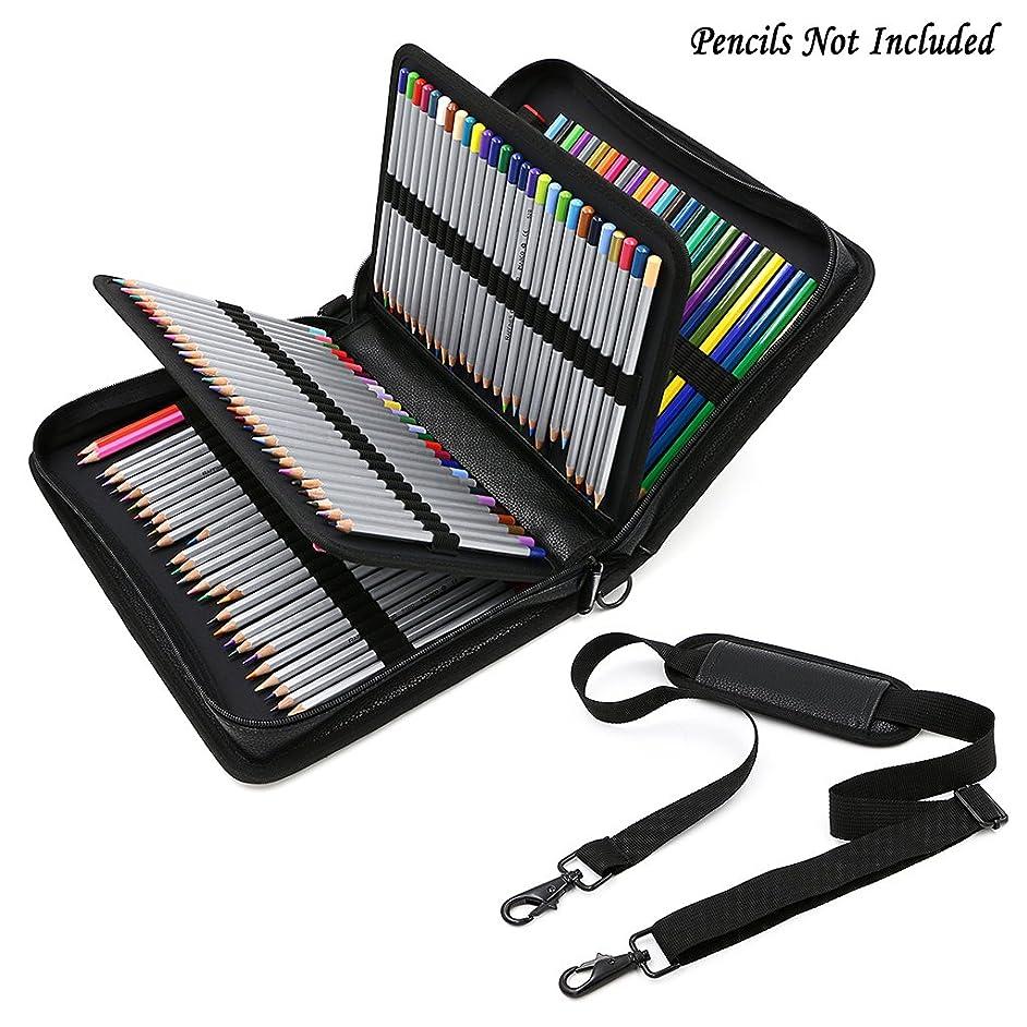 BTSKY Deluxe PU Leather Pencil Case for Colored Pencils - 160 Slot Pencil Holder (Black)