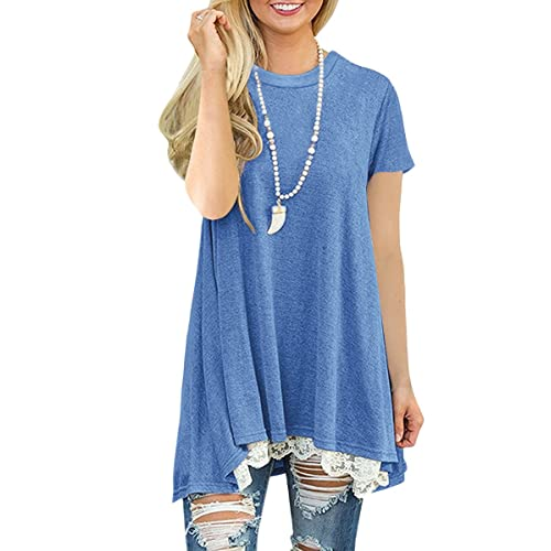 ec55ec89ad2 NICIAS Womens Lace Casual Long Sleeve Tunic Tops Loose Blouse T Shirt