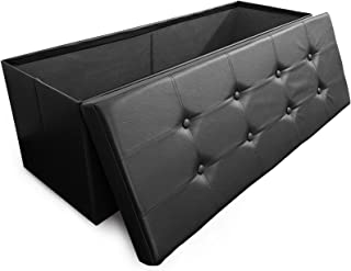 casa pura Large Folding Ottoman with Storage | Luxury Upholstered Storage Bench for Bedroom & Living Room | Faux Leather - Black | Multiple Sizes and Colors - 42