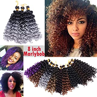 Ombre Two Tones Marlybob Crochet Braids Hair Extension Synthetic Deep Wave Afro Kinky Jerry Curl Jamaican Bouce Braiding Weave for Black Women 8inch 3 lots/pack 90g- Black to Grey