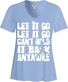 DisGear Let It Go Ladies Running Sports V-Neck Performance Athletic Shirt