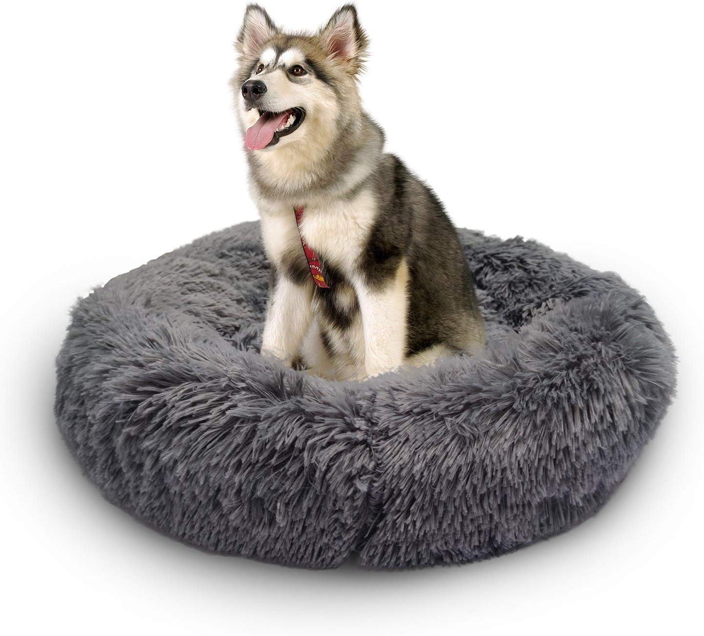 MARUNDA Dog SALENEW very popular! Bed Cat Calming Donut, Cozy Pe Faux Fur Fluffy Price reduction