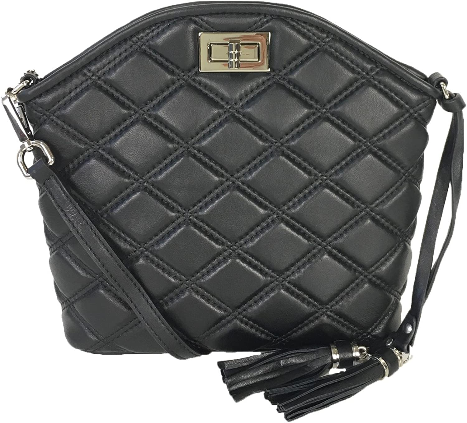 Zenith Quilted Leather Dome Congreenible Crossbody, Black
