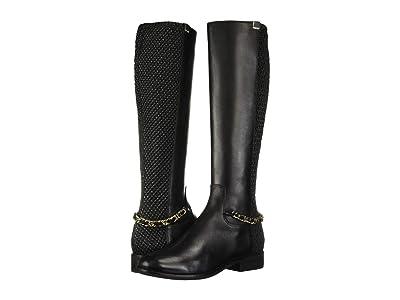 Cole Haan Idina Stretch Boot (Black Leather/Tonal Stretch Quilt/Black Semi Shine Stack) Women