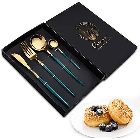 Couverts en acier inoxydable 4 Pcs,vaisselle et arts de la table,Y compris fourchette, cuillère, couteau, cuillère à café et boîte-cadeau (Vert + or)