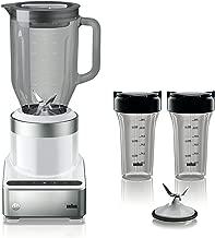 Braun JB7352 WHS PureMix Power Countertop Blender With Glass Jug & Smoothie2Go Cups, 56 fl. oz, White