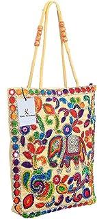 Kuber Industries Embroided Cotton Embroidry Shoulder Bag, Beige