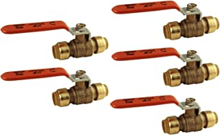 Sharkbite 22222-0000LF Copper Lead Free 1/2-inch Ball Valve Fittings, 5-Pack