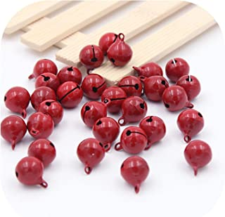 10Pcs Christmas Bells Iron Loose Metal Beads Jingle Bells Christmas Decoration Pendants DIY Crafts Handmade Accessories 1313Mm,Red