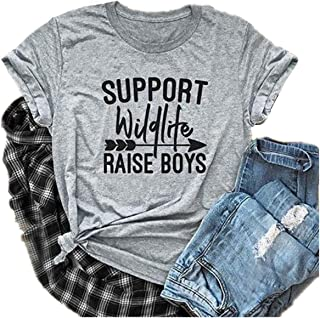 SFHFY Support Wildlife Raise Boys Letter Print Funny T-Shirt Women Casual Basic Tees Tops Blouse