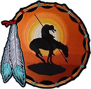 End Of The Trail, Horse, Spear, Indian and Sunset Large Back Patch - 12x12 inch. Embroidered Iron on Patch