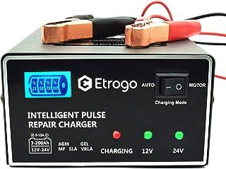 Chargeur de Batterie de Voiture 12V 24V 10A Chargeur de Batterie Rapide Chargeur d'impulsions avec écran à Barre LED pour ...