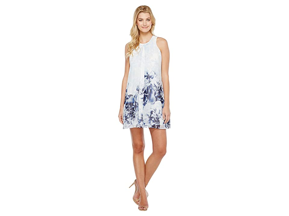 Calvin Klein Printed Inverted Pleat Dress (Twilight/Light Grey) Women