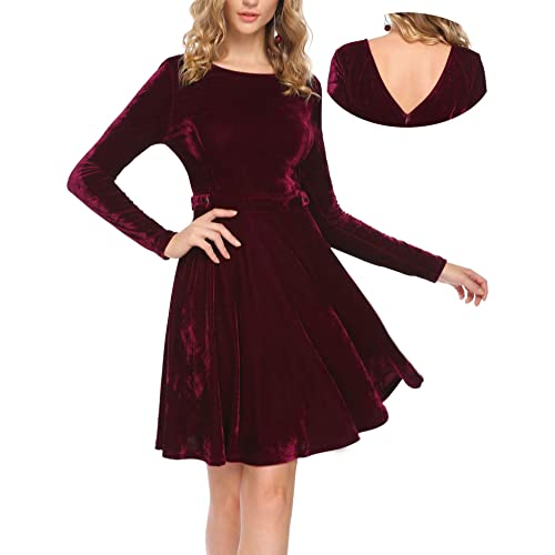 06e7091ce4 ELESOL Women Velvet V Back Fit Flare Long Sleeve Aline Cocktail Party Dress