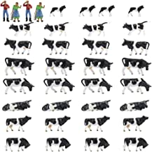 Farm Animals Figure Toys Set,AN8704 36PCS 1:87 Well Painted Model Cows and Figures for HO Scale Model Train Scenery Layout Miniature Landscape New