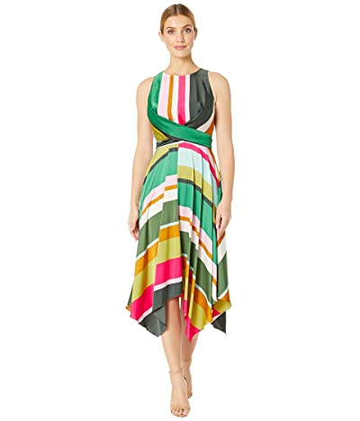 Maggy London Pop Party Stripe Printed Charmeuse Dress with Tie Front Detail (Soft White/Multi) Women