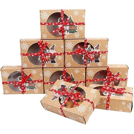 Regalare Biscotti Di Natale.Ourwarm 12 Pezzi Scatole Per Biscotti Di Natale Con Finestra Trasparente 2 Scatole Regalo In Carta Stile Per Regali Di Natale Amazon It Casa E Cucina
