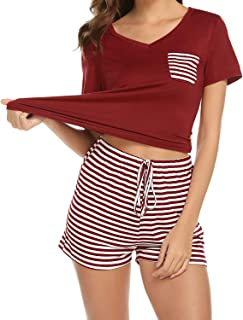 wishpower Summer Pajama Set Women's Cute Short Sleeve Top with Pants/Shorts Sleepwear Pjs Sets