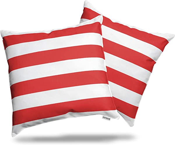 ALEXANDRA S SECRET HOME COLLECTION Outdoor Decorative Throw Pillow Pack Of 2 Stuffed Throw Pillows UV Resistant Water Proof Complete Pillow With Polyester Fill Insert Stripe 18 X 18 Red