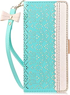 WWW Galaxy Note 10+ Plus Case/Galaxy Note 10+ Plus 5G Case, [Luxurious Romantic Carved Flower] Leather Wallet Case with [Makeup Mirror] [Kickstand] Galaxy Note 10+ Plus Wallet Case 2019 Mint Green