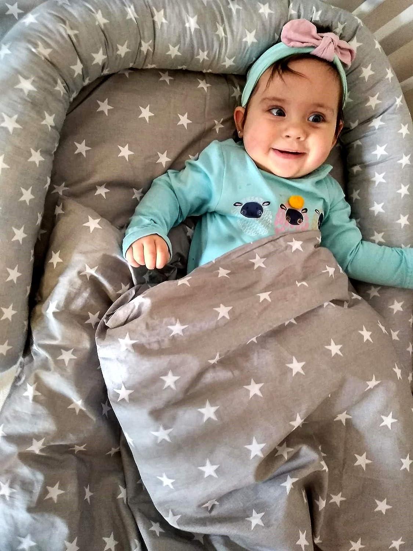 babybettumrandung Bettnestchen f/ür Kinderbett Beistellbett Gitterbett 180 x 30 cm Grau Baumwolle Bettumrandung Nestchen Babybett umrandungen