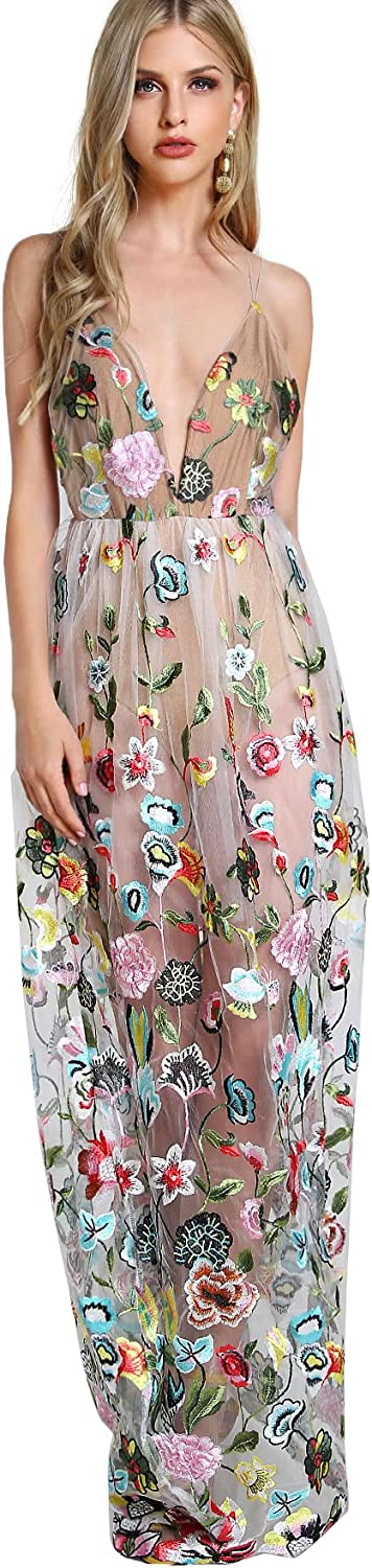 DIDK Women's Embroidered Mesh Overlay Bodysuit Maxi Dress