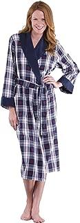 Snowfall Plaid Cotton Flannel Wrap Robe for Women, Blue