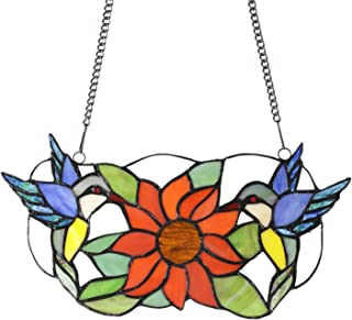 MELUCEE Tiffany Stained Glass Panel 13.7 Inches Wide with 33 Inches Chain