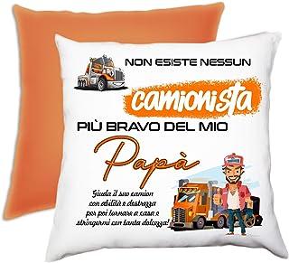 Cuscino personalizzato papà camionista dedica arancione Festa del Papà