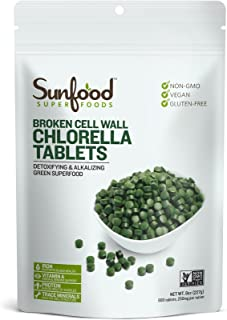 Sunfood Chlorella Tablets- Broken Cell Wall. Non-GMO. 100% Pure. No Fillers, Additives, Preservatives. 250mg Chlorella per...