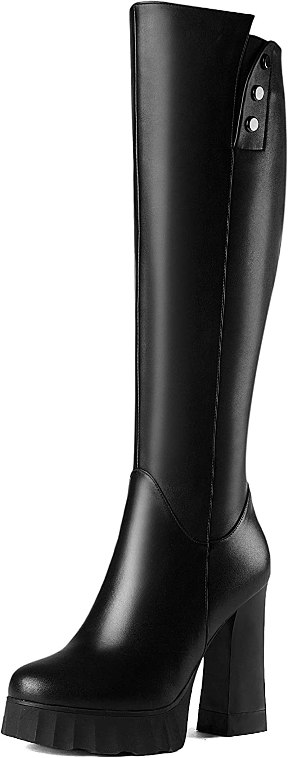 Original Intention Quality Women's Knee High Boots Genuine Leather Chunky Heel shoes for Woman Black