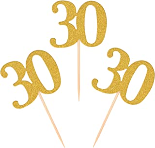 Donoter 50pcs 30th Cupcake Toppers Gold Glitter Number 30 Cake Picks for Birthday Anniversary Party Decoration