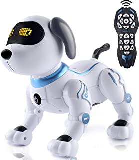 IDEAPARK Perro de Juguete Control Remoto, RC Robotic Stunt Puppy Juguetes de Control de Voz, RC Programable y Robot de Bai...